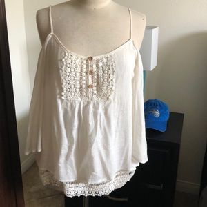 White embroider cold shoulder tank Tunic